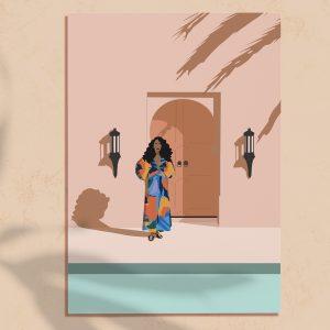 Illustration impression numérique d'une femme avec une robe colorée devant une porte à Marrakech et une piscine bleue