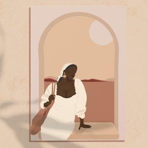 Illustration numérique d'une femme noire qui est assise sur le bord d'une fenêtre en contemplant un paysage beige et camel