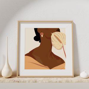 Affiche d'une illustration d'une femme avec une fleur sur le visage