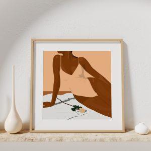 Affiche d'une illustration vectorielle d'une femme en maillot de bain
