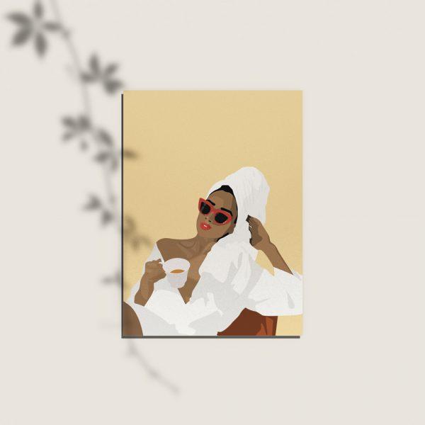 cartes postales, remerciements, anniversaire d'une femme qui boit du thé en peignoir