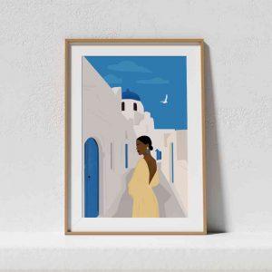 Affiche d'une illustration d'une femme en voyage à Santorin en Grèce