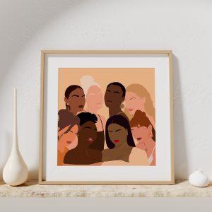 Affiche d'une illustration vectorielle de plusieurs femmes représentant la sororité et la diversité