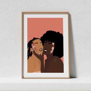 Affiche d'une illustration de deux femmes avec des fleurs sur le visage