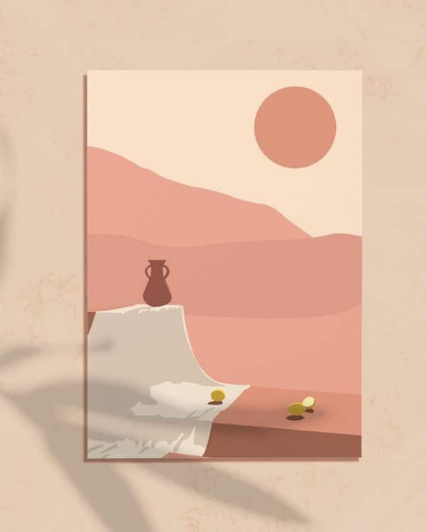 Affiche numérique d'une illustration minimaliste géométrique et abstraite d'un désert au Maroc