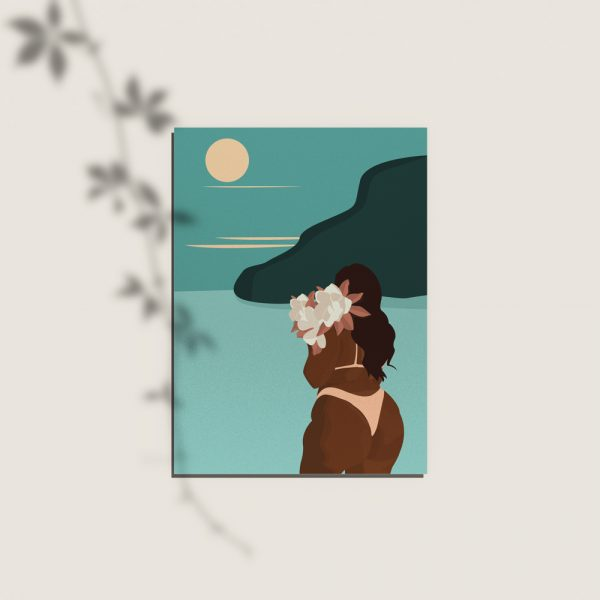 cartes postales, remerciements, anniversaire d'une femme en maillot de bain sur une île
