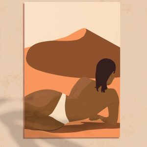 Affiche d'illustration d'une femme nue dans un désert du Sahara