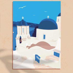 Affiche d'illustration de voyage à Santorin, Grèce