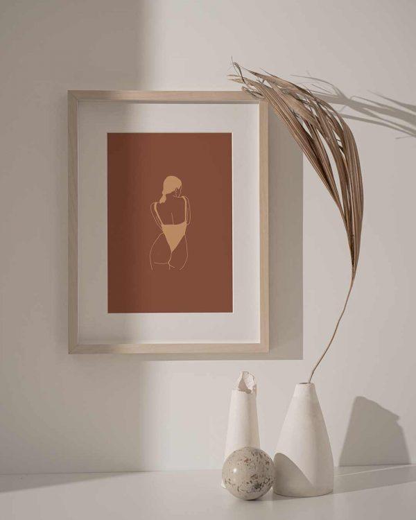 Affiche d'une illustration minimaliste beige et marron d'une femme nue