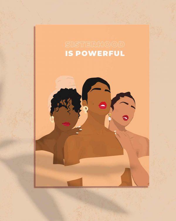Affiche d'une illustration de 3 femmes qui représentent le sisterhood