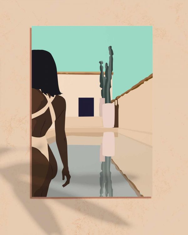 Affiche d'une illustration d'une femme noire en maillot de bain dans une maison de vacances bleue